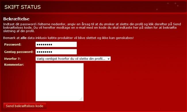 Tredje trin - Sådan sletter du din profil på Scor.dk